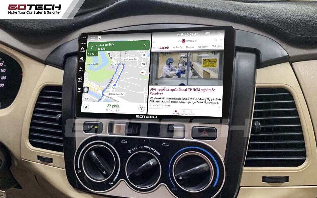 Chạy đa nhiệm ứng dụng trên màn hình dvd android Gotech cho xe Toyota Innova 2006-2011.