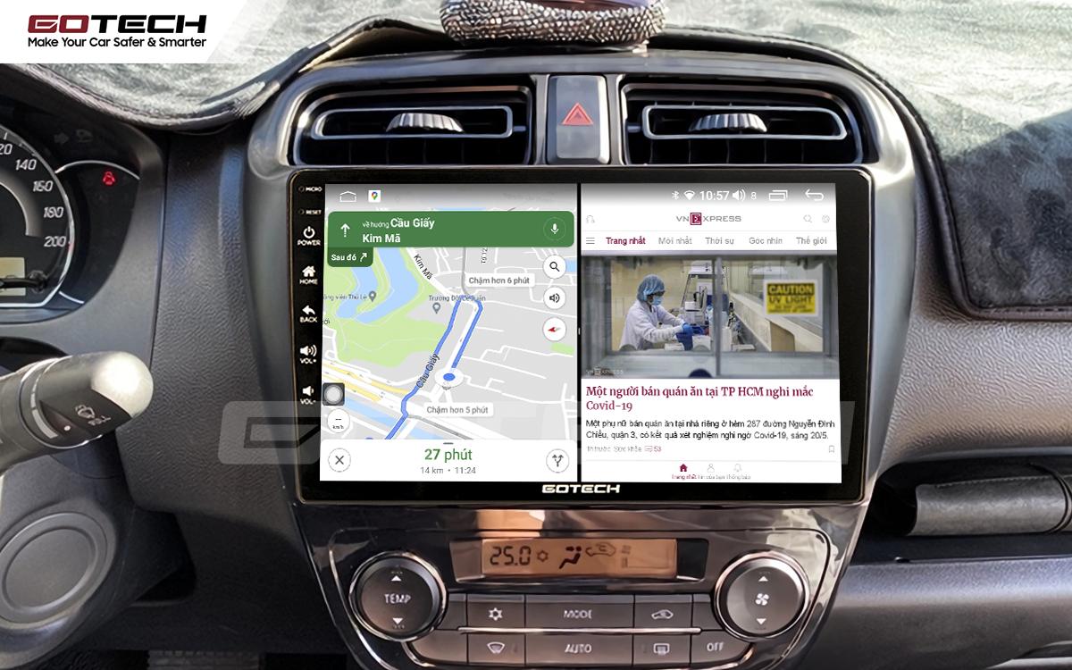 Chạy đa nhiệm ứng dụng mượt mà trên màn hình ô tô thông minh Gotech cho xe Mitsubishi Attrage 2015-2020.