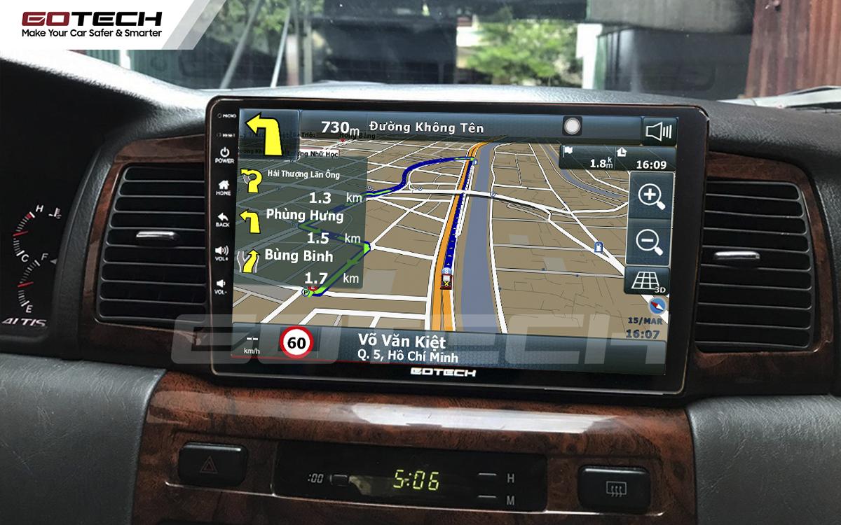 Các ứng dụng chỉ đường thông minh trên màn hình ô tô GOTECH cho xe Toyota Altis