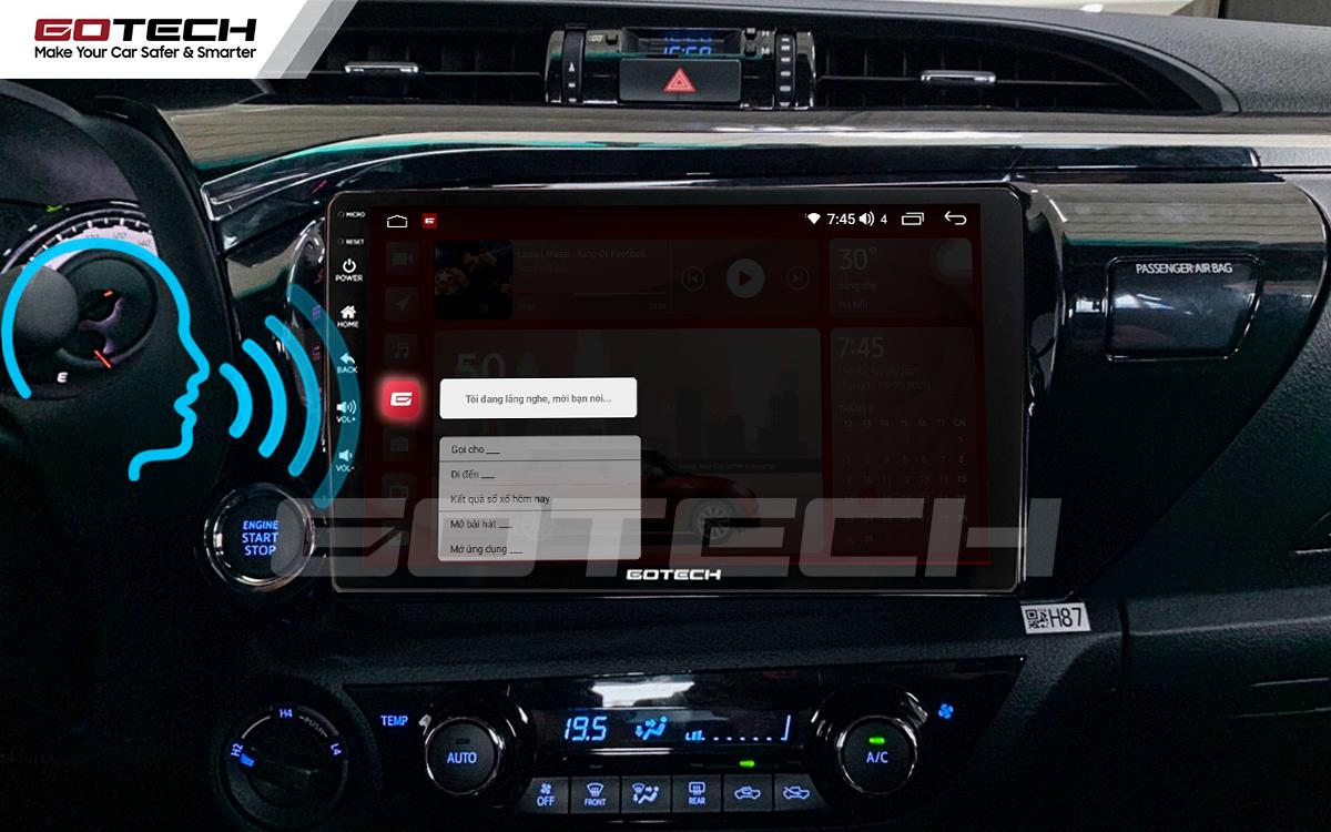 Điều khiển giọng nói qua vô lăng trên màn hình android Gotech cho xe Toyota Hilux.