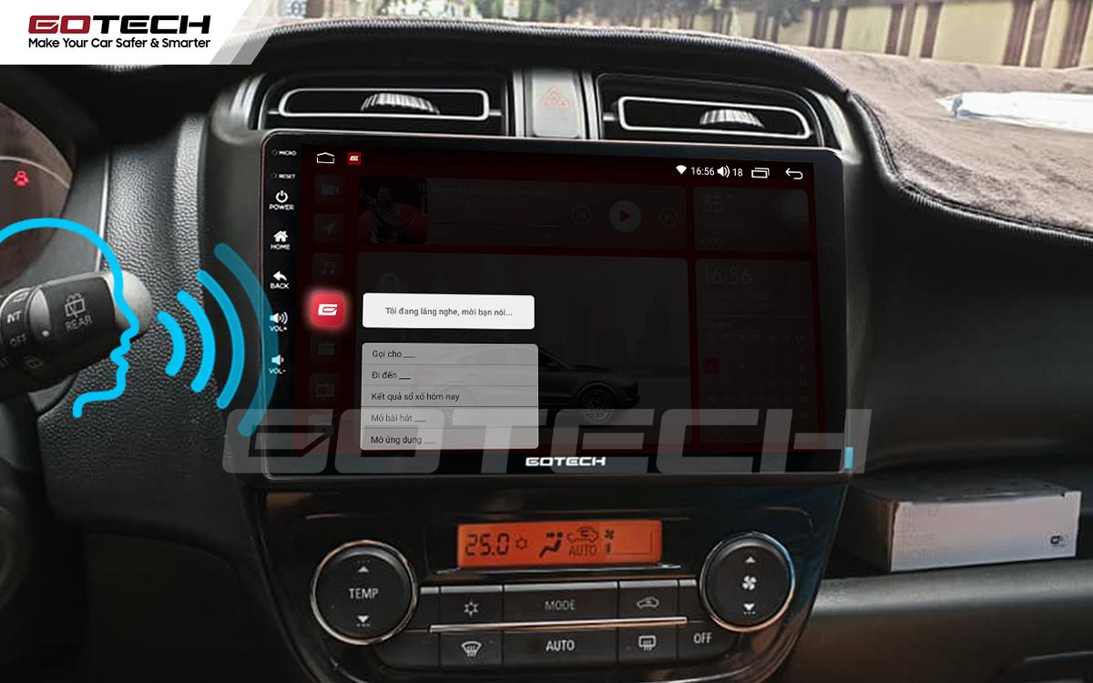 Điều khiển giọng nói qua vô lăng trên màn hình ô tô Gotech cho xe Mitsubishi Mirage 2013-2019.