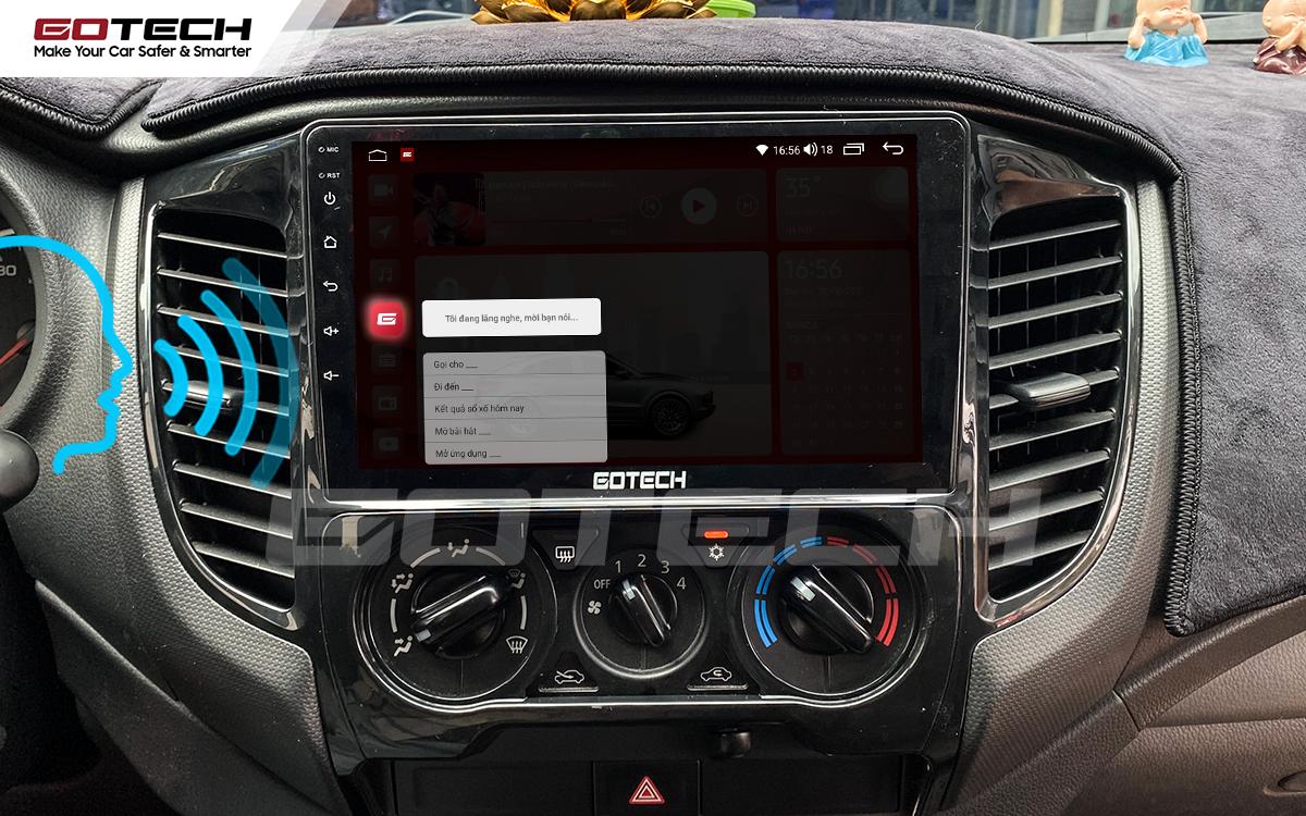 Điều khiển giọng nói tiếng Việt trên màn hình ô tô GOTECH cho xe Mitsubishi Triton 2015-2018.