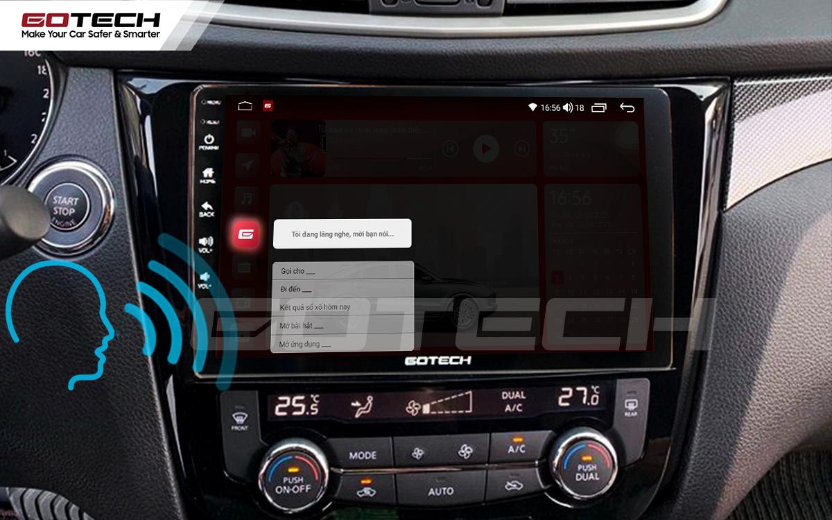 Điều khiển giọng nói qua vô lăng trên màn hình ô tô GOTECH cho xe Nissan Xtrail 2016-2020