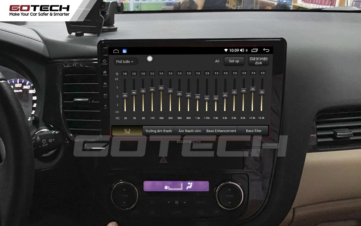 Bộ xử lý tín hiệu âm thanh DSP 32 kênh trên màn hình ô tô Gotech cho xe Mitsubishi Outlander 2016-2019.