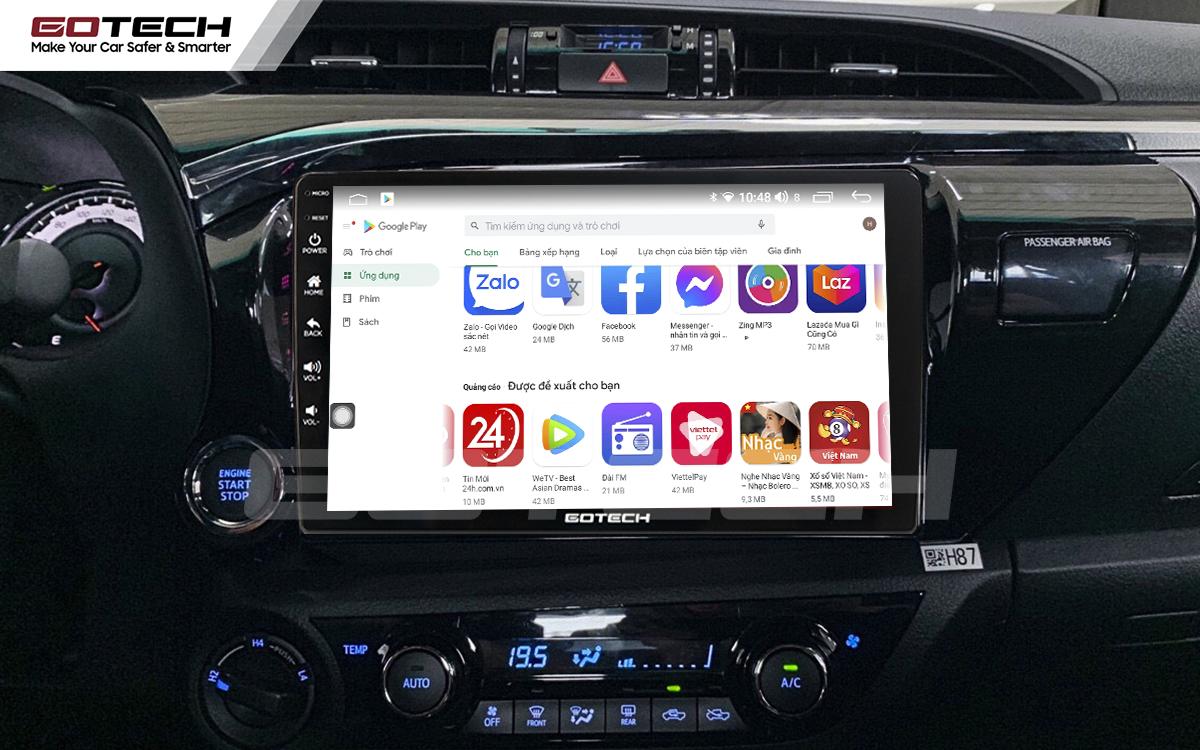 Giải trí đa phương tiện trên màn hình ô tô Gotech cho xe Toyota Hilux.