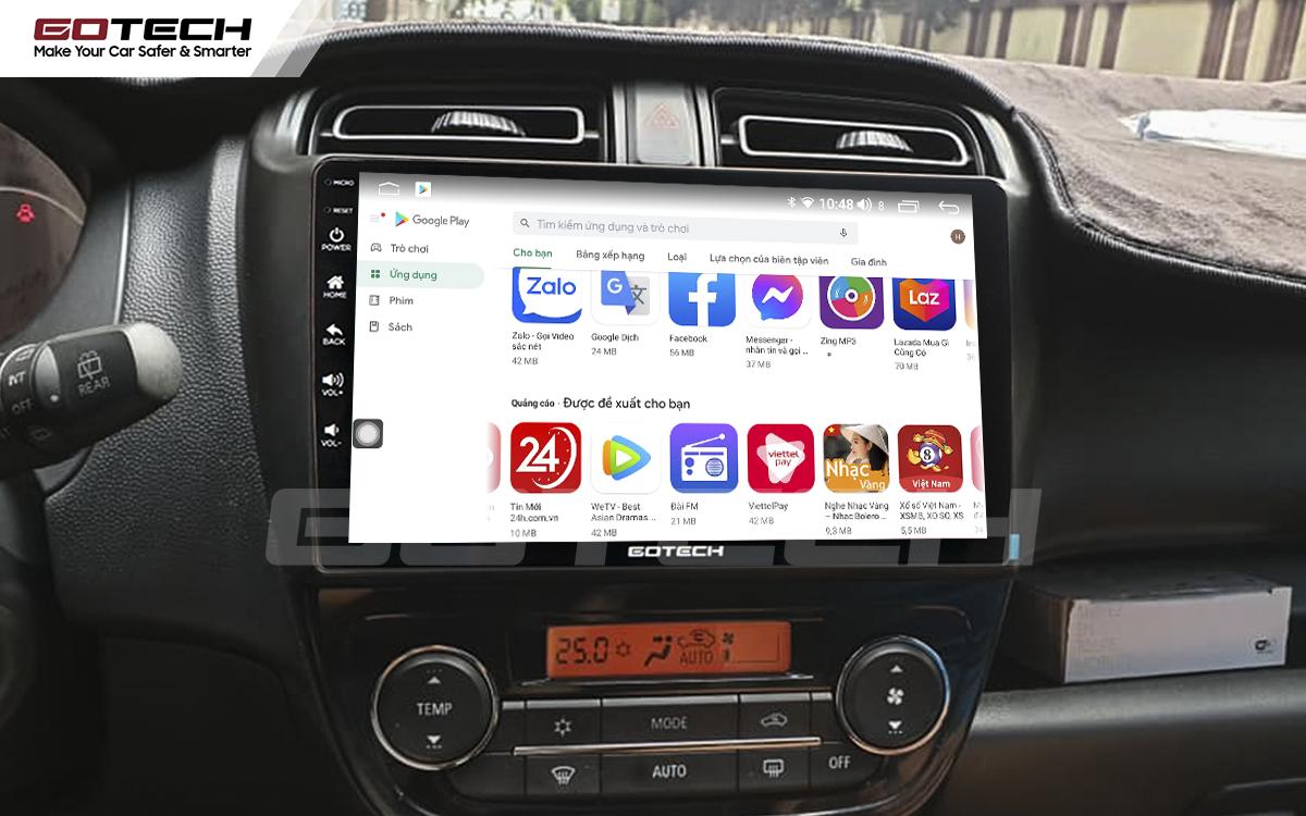 Giải trí đa phương tiện trên màn hình ô tô Gotech cho xe Mitsubishi Mirage 2013-2019.