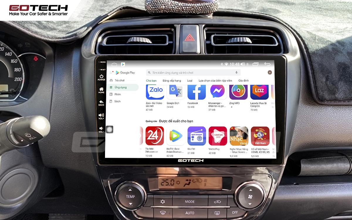 Giải trí đa phương tiện trên màn hình ô tô Gotech cho xe Mitsubishi Attrage 2015-2020.