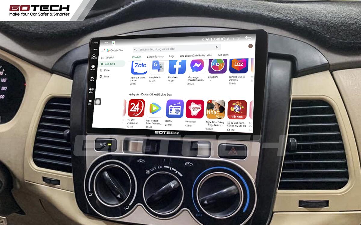Giải trí đa phương tiện trên màn hình ô tô Gotech cho xe Toyota Innova 2006-2011.