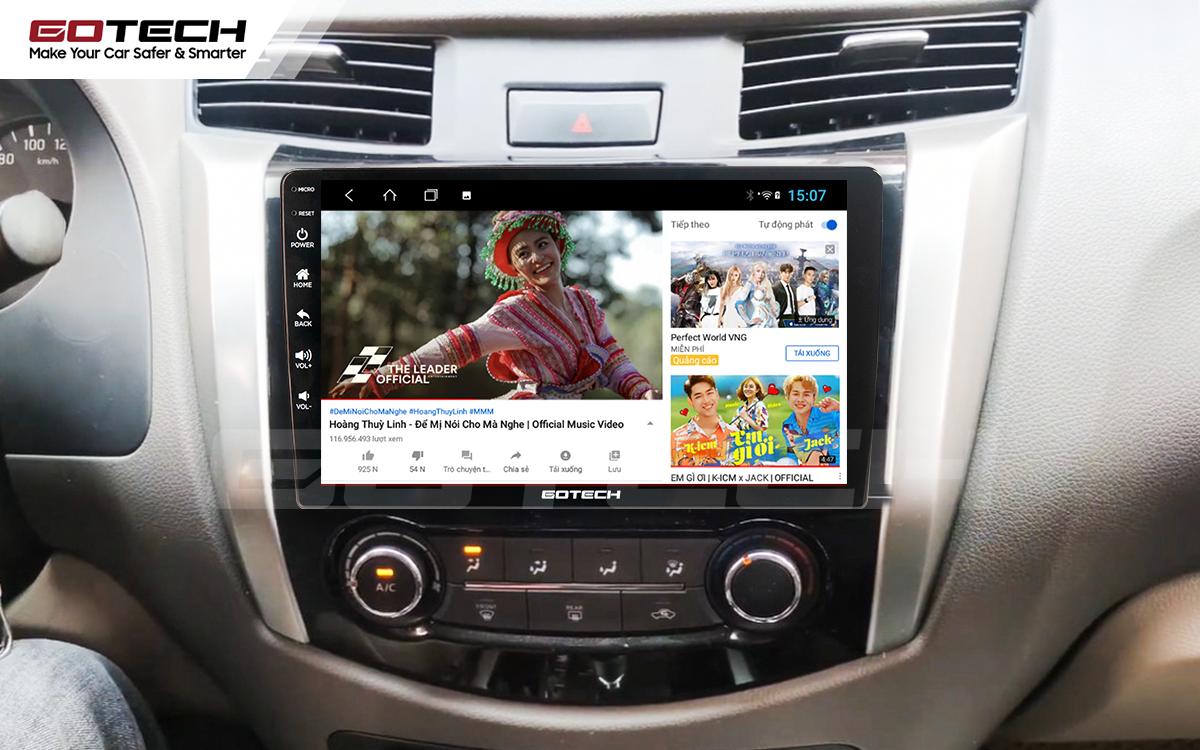 Các ứng dụng giải trí đa dạng trên màn hình ô tô GOTECH cho xe Nissan Navara 2015 - 2020