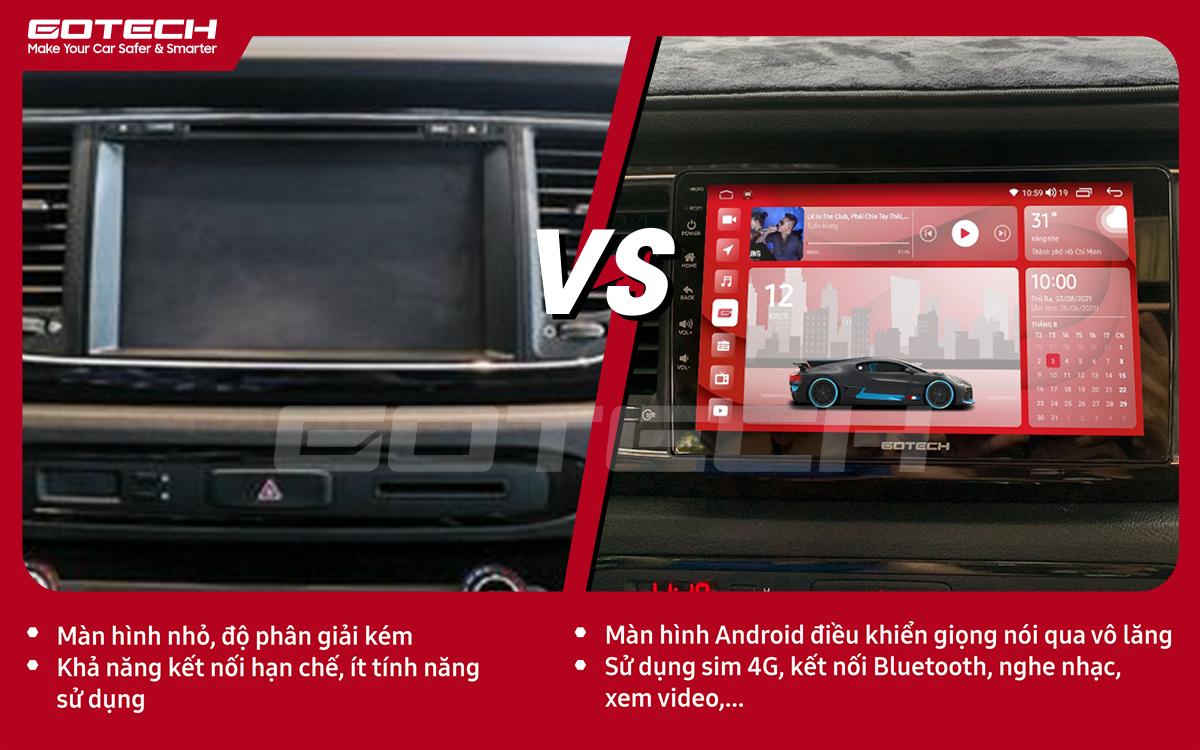 Hình ảnh trước và sau khi lắp màn hình Android ô tô GOTECH cho xe Kia Sedona