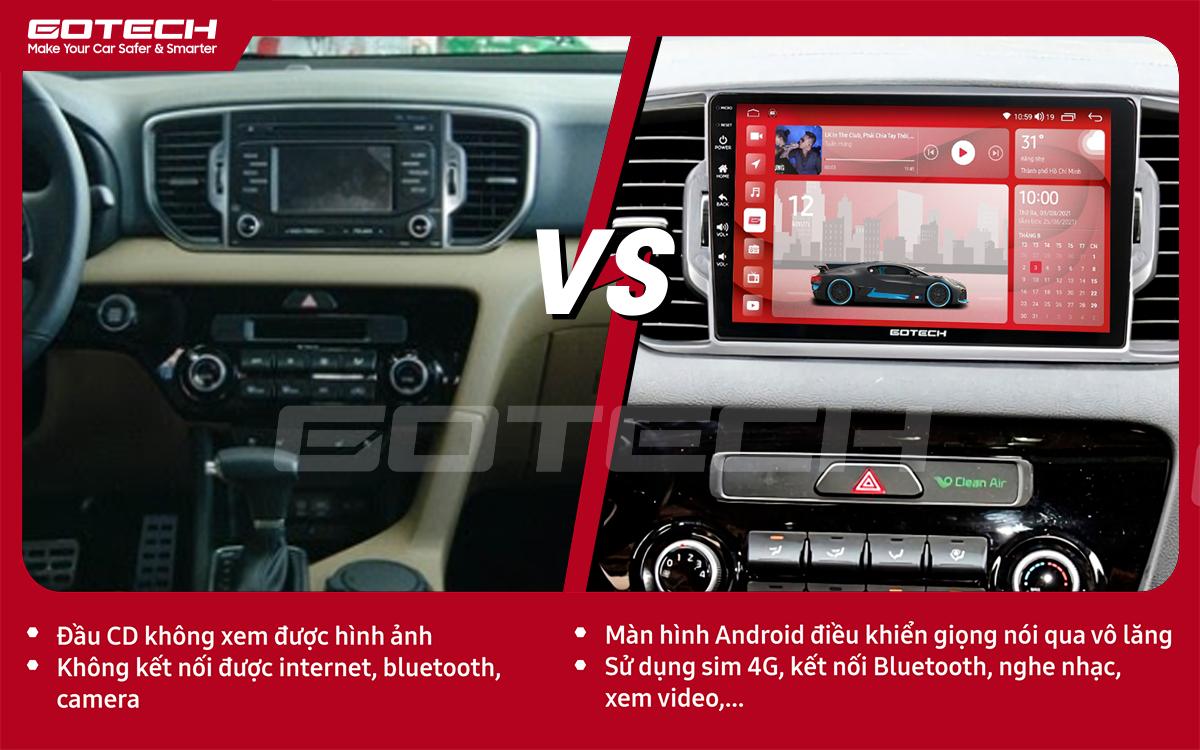 Hình ảnh trước và sau khi lắp đặt màn hình ô tô GOTECH cho xe Kia Sportage 2016 - 2018