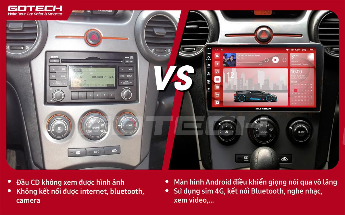 Hình ảnh trước và sau khi lắp đặt màn hình ô tô GOTECH cho xe Kia Carens