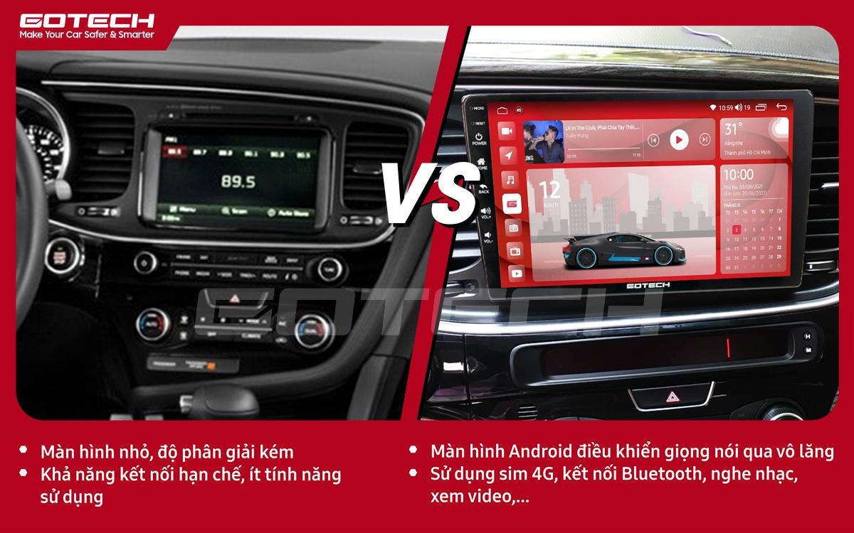 Hình ảnh so sánh trước và sau khi lắp đặt màn hình ô tô GOTECH cho xe Kia K5 Optima