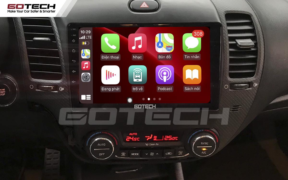 Kết nối Apple Carplay trên màn hình ô tô thông minh GOTECH cho xe Kia K3 Cerato