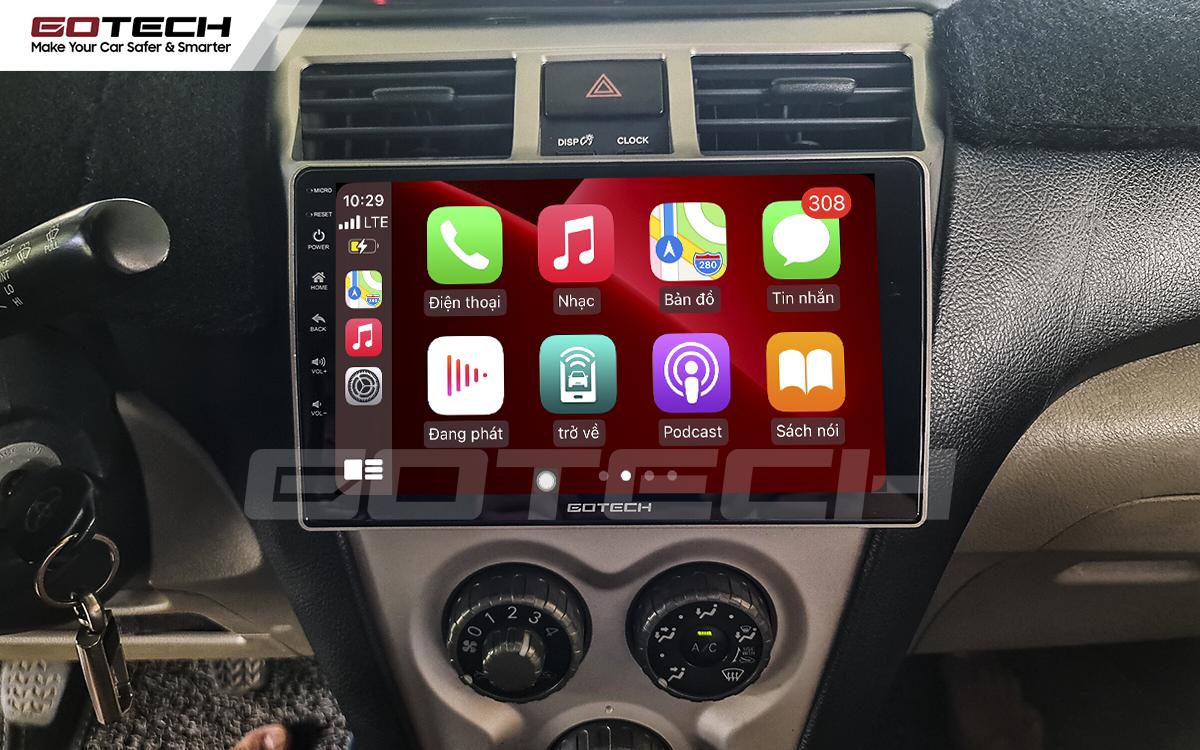 Kết nối Apple Carplay trên màn hình Android GOTECH cho xe Vios 2008 - 2013