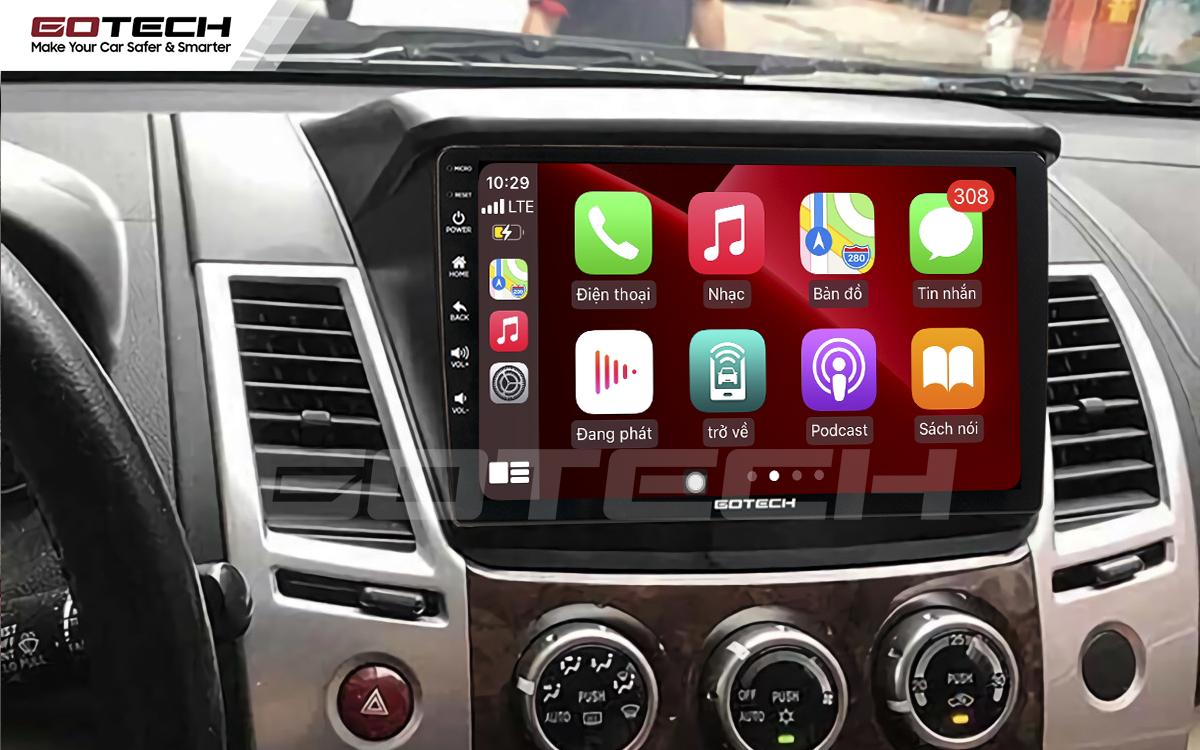 Kết nối Apple Carplay trên màn hình ô tô thông minh Gotech cho xe Mitsubishi Triton 2010-2014.
