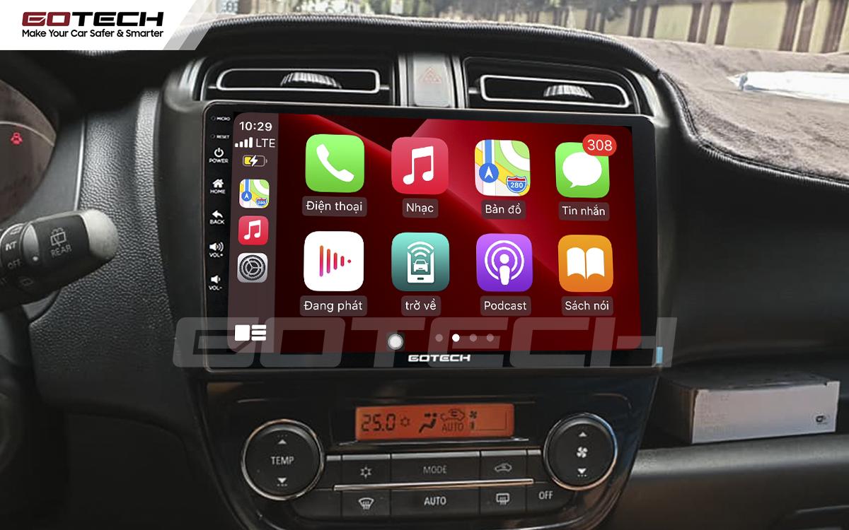 Kết nối apple carplay trên màn hình ô tô Gotech cho xe Mitsubishi Mirage 2013-2019.