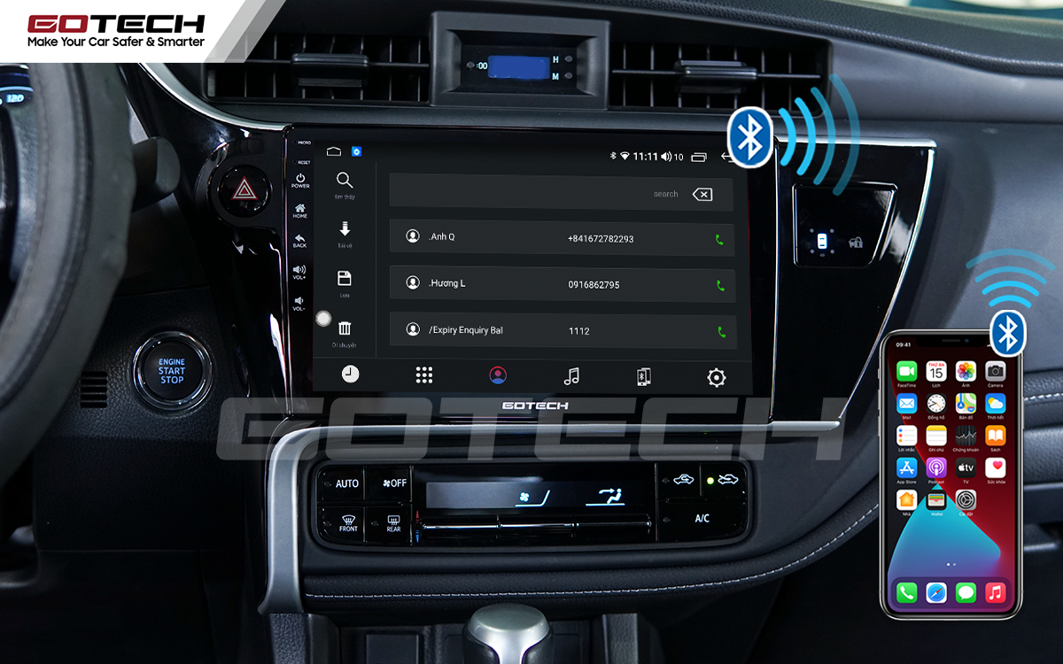 Kết nối điện thoại nghe gọi rảnh tay trên màn hình GOTECH cho xe Toyota Altis 2018 - 2019
