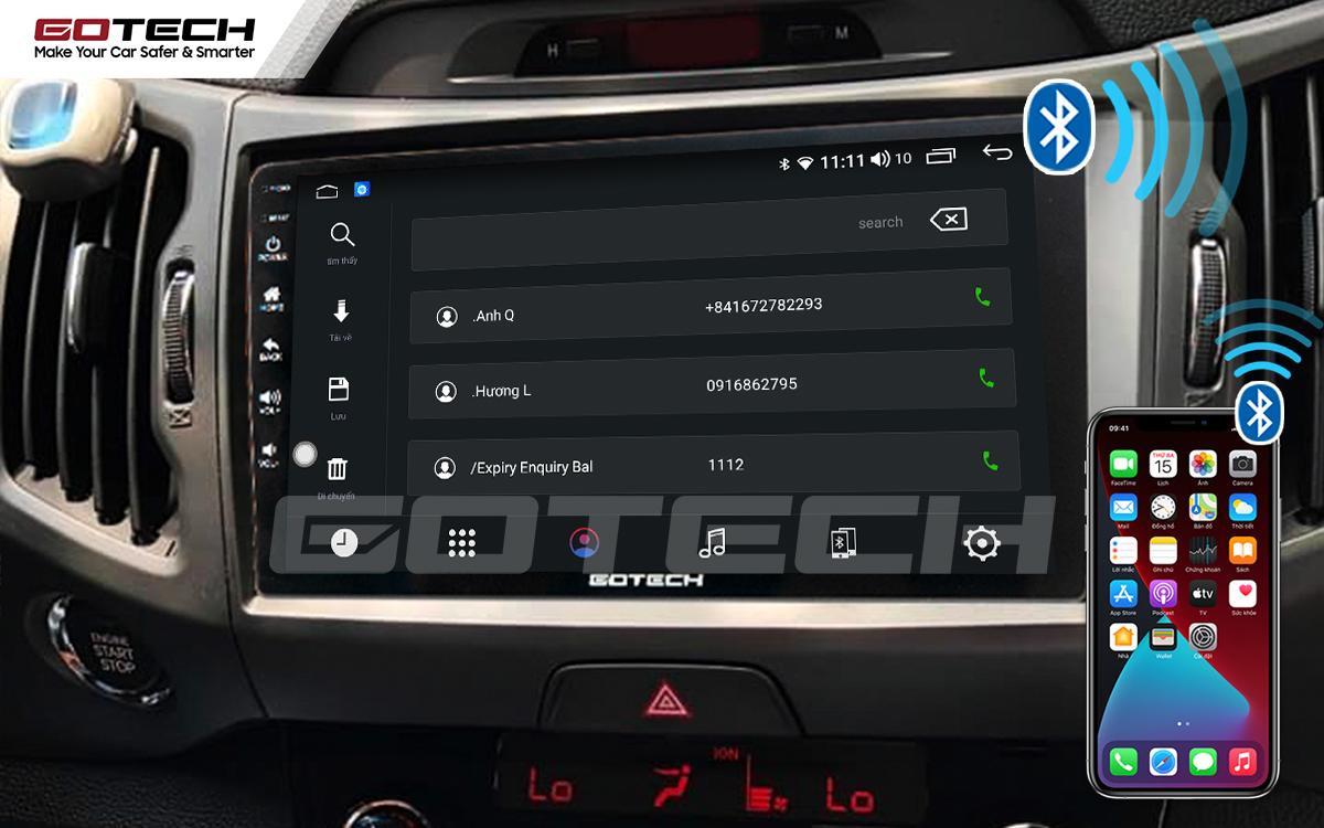 Kết nối điện thoại nghe gọi rảnh tay trên màn hình ô tô thông minh GOTECH