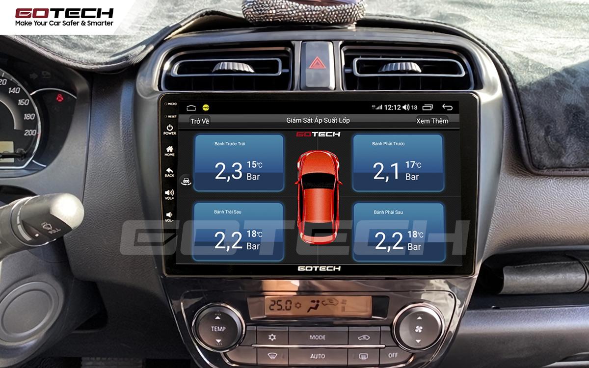 Hỗ trợ mở cảm biến áp suất lốp trên màn hình ô tô Gotech cho xe Mitsubishi Attrage 2015-2020