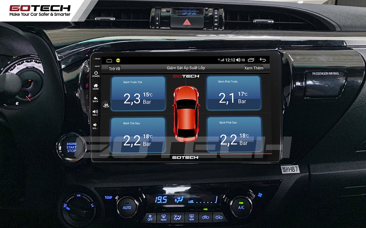 Kết nối cảm biến áp suất lốp trên màn hình ô tô Gotech cho xe Toyota Hilux 2016-2019.