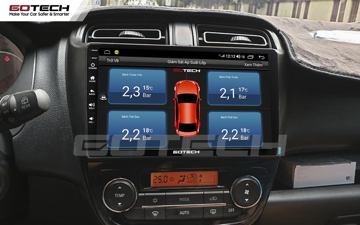 Kết nối cảm biến áp suất lốp trên màn hình ô tô Gotech cho xe Mitsubishi Mirage 2013-2019.