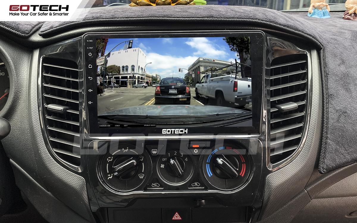 Kết nối camera hành trình trên màn hình ô tô GOTECH cho xe Mitsubishi Triton 2015-2018.
