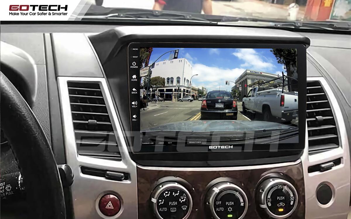 Kết nối camera hành trình trên màn hình ô tô Gotech cho xe Mitsubishi Triton 2010-2014.