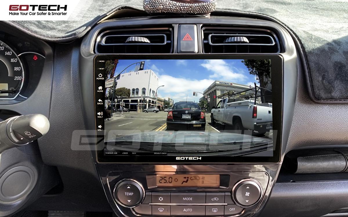 Mở camera hành trình trên màn hình ô tô Gotech cho xe Mitsubishi Attrage 2015-2020.