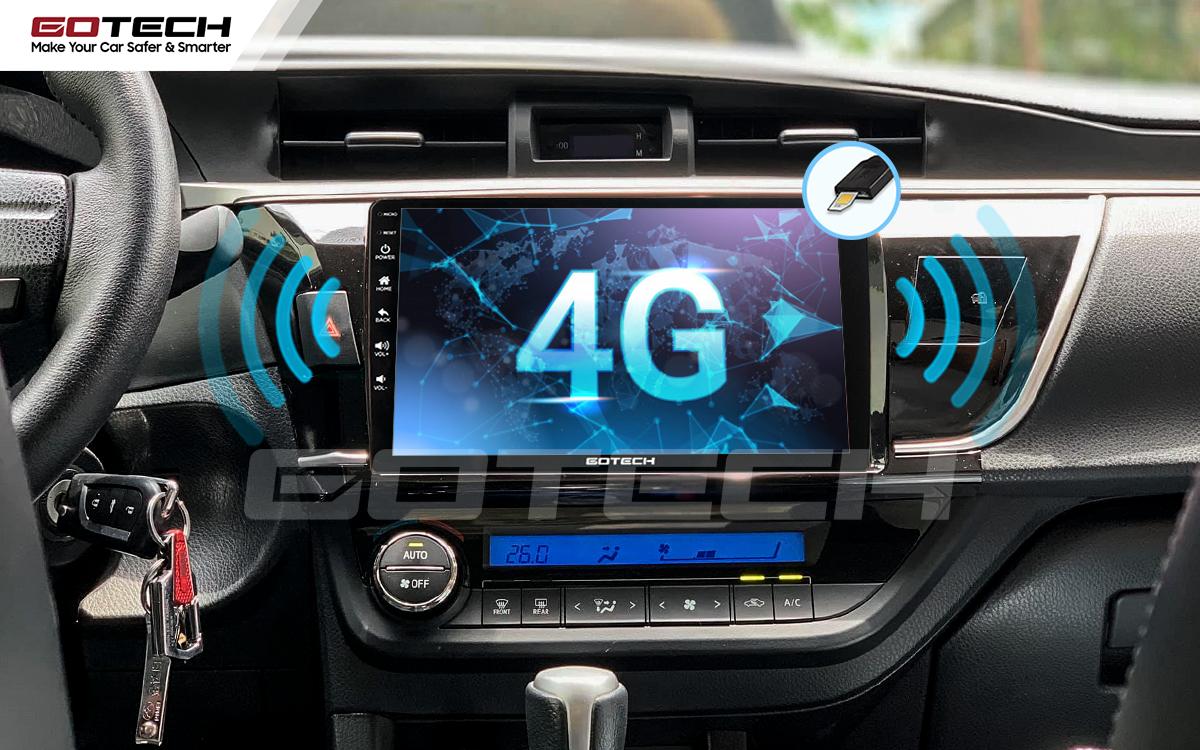 Kết nối internet 4G trên màn hình Android ô tô GOTECH cho xe Toyota Altis