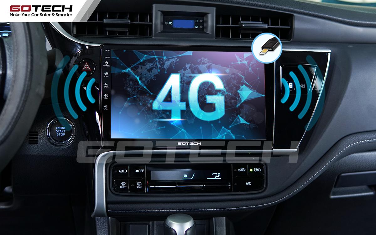Kết nối internet 4G trên màn hình Android ô tô GOTECH cho xe Toyota Altis 2018 - 2019
