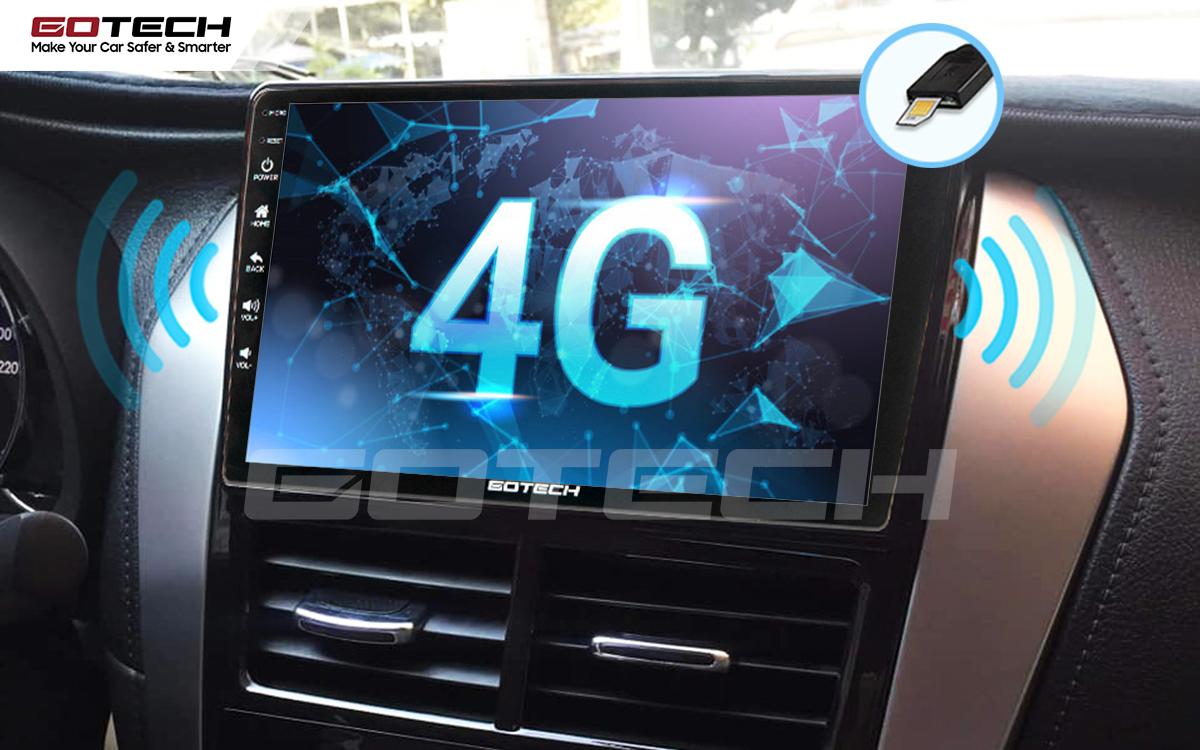 Kết nối internet 4G trên màn hình Android ô tô GOTECH cho xe Toyota Vios E 2019 - 2020