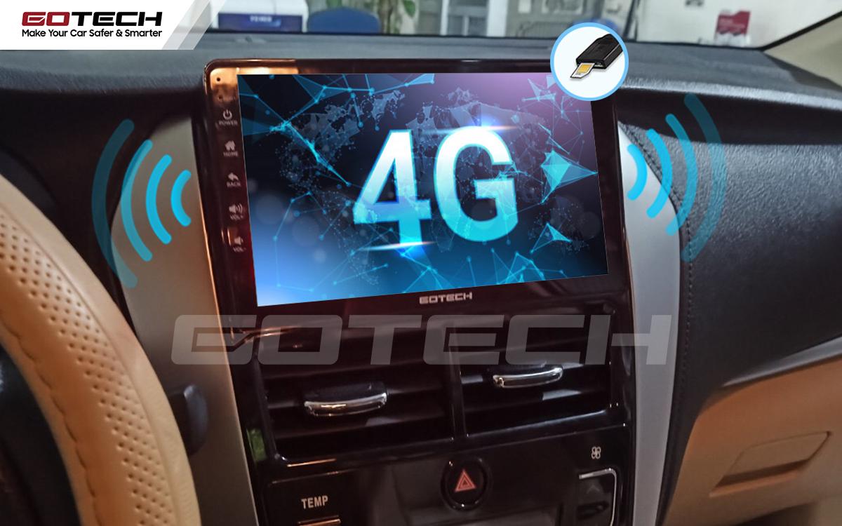 Kết nối internet 4G trên màn hình Android ô tô GOTECH cho xe Toyota Vios G 2019 - 2020