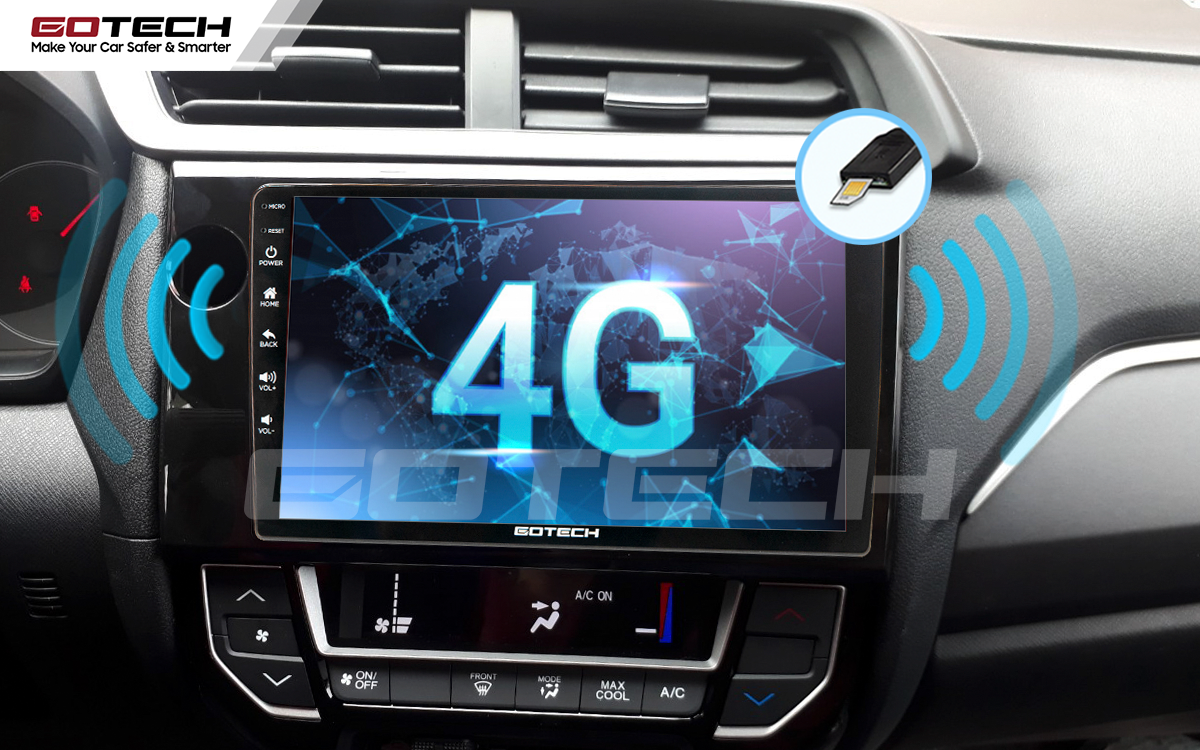 Kết nối internet trên màn hình ô tô thông minh GOTECH cho xe Honda Brio