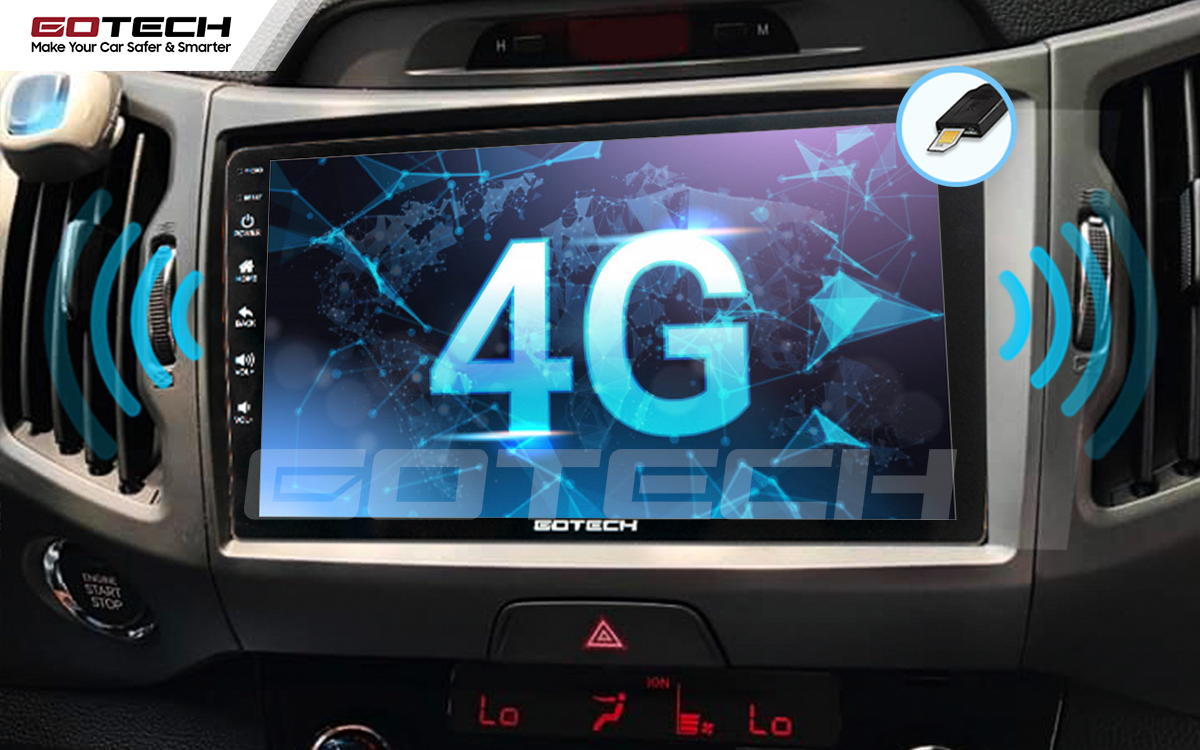 Kết nối internet 4G tốc độ cao trên màn hình ô tô GOTECH cho xe Kia Sportage 2011 - 2014