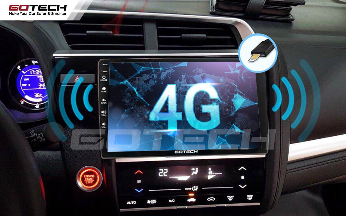Kết nối internet 4G trên màn hình ô tô GOTECH cho xe Honda Jazz