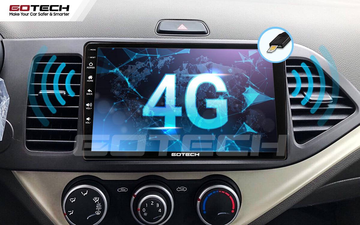 Kết nối internet 4G trực tiếp trên màn hình ô tô thông minh GOTECH cho xe Kia Morning