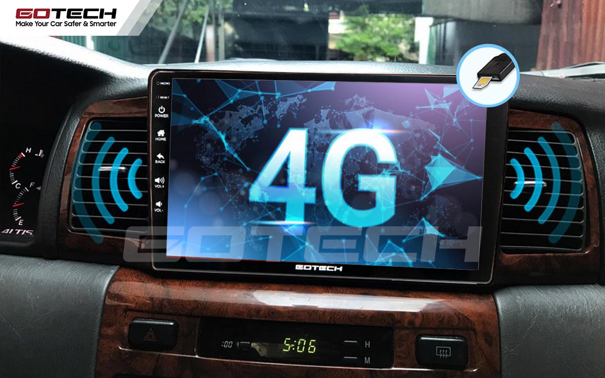 Kết nối sim 4G tốc độ cao trên màn hình ô tô GOTECH cho xe Toyota Altis 2003 - 2007