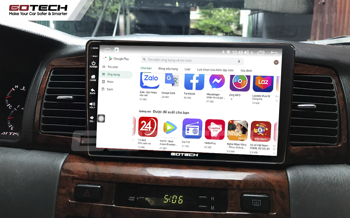 Kho ứng dụng CH Play khổng lồ trên màn hình Android ô tô GOTECH cho xe Toyota Altis