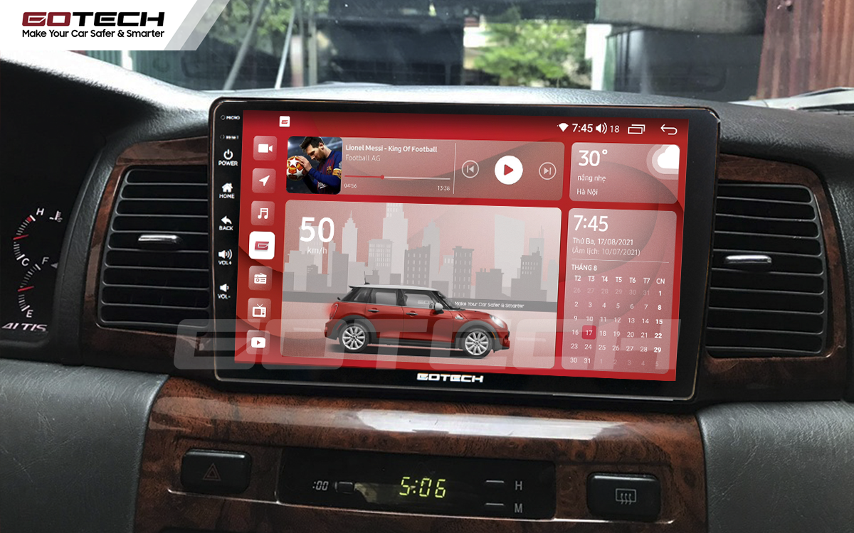 Màn hình Android GOTECH giao diện thiết kế nổi bật