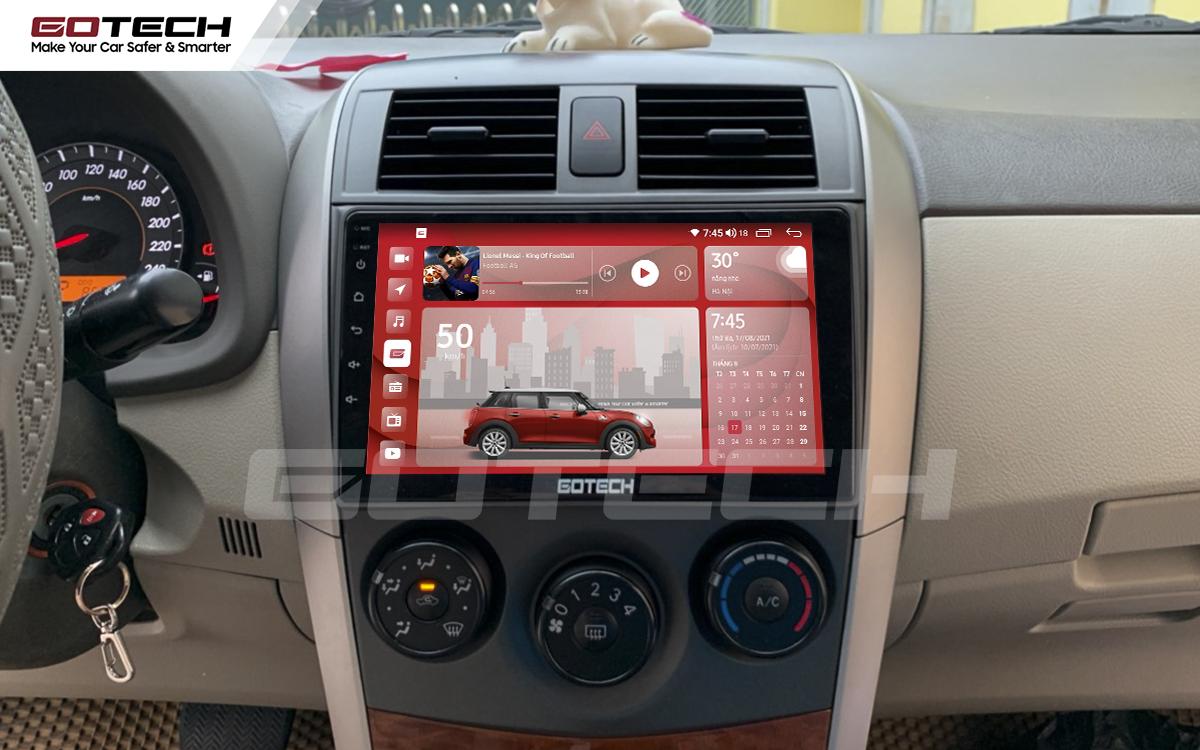 Màn hình ô tô GOTECH cho xe Toyota Altis 2008 - 2013 có giao diện nổi bật, tinh tế