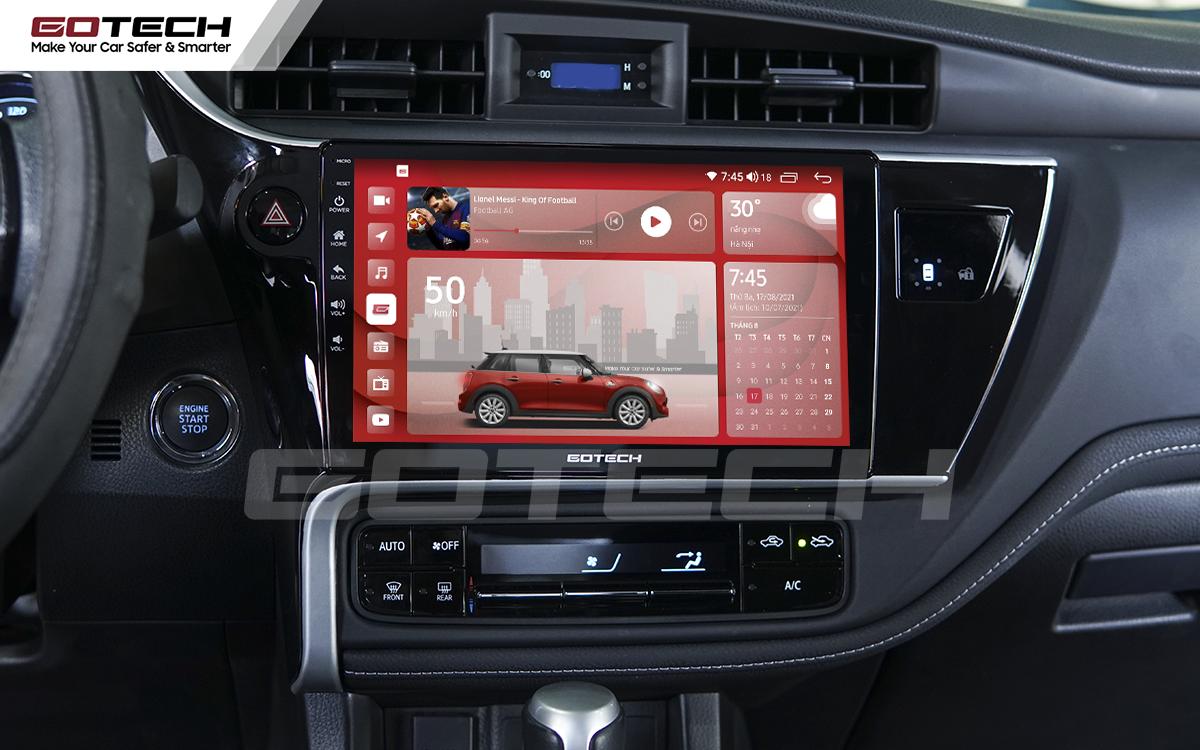 Màn hình GOTECH cho xe Altis 2018 - 2019 có giao diện nổi bật, kích thước màn hình lớn