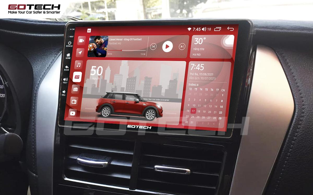 Màn hình GOTECH cho xe Vios E 2019 - 2020 có giao diện nổi bật, sang trọng