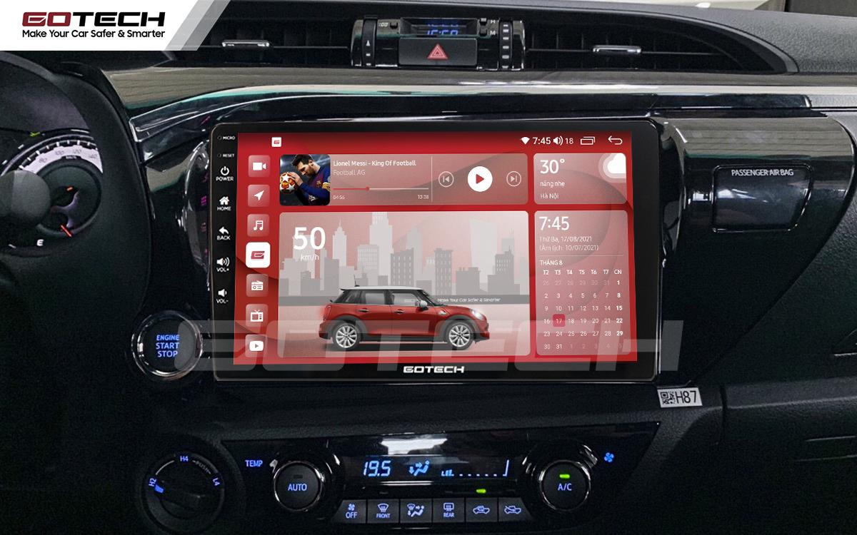 Màn hình Android Gotech cho xe Toyota Hilux 2016-2019 có kích thước 10 inch nổi bật.