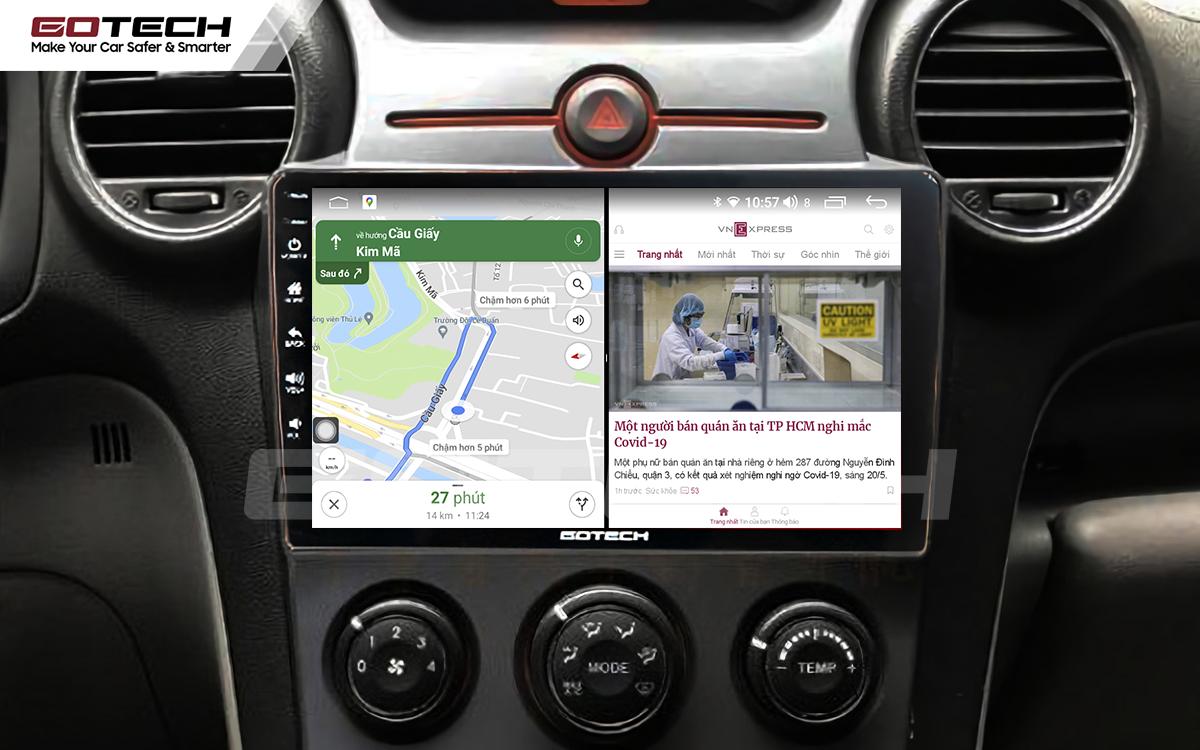 Màn hình ô tô GOTECH cho xe Kia Carens chia đôi màn hình chạy đa nhiệm ứng dụng mượt mà
