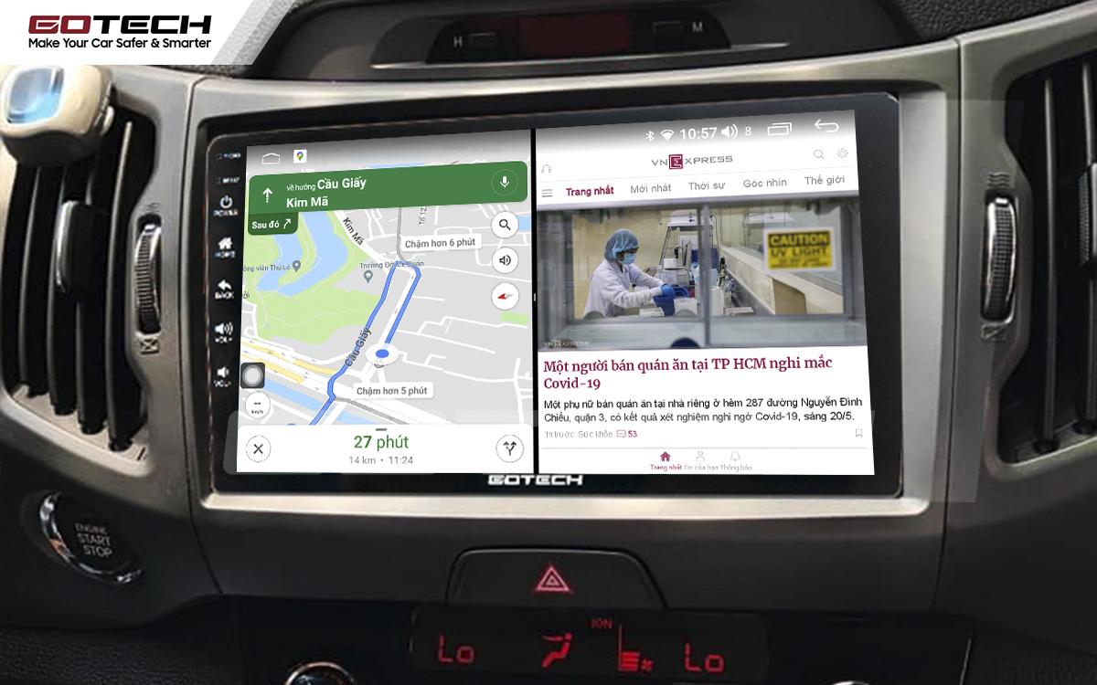 Chạy đa nhiệm ứng dụng mượt mà trên màn hình ô tô thông minh GOTECH cho xe Kia Sportage 2011 - 2014