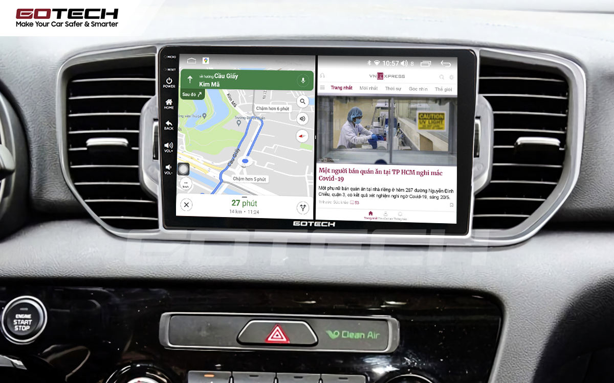 Chia đôi màn hình chạy đa nhiệm ứng dụng trên màn hình ô tô GOTECH cho xe Kia Sportage