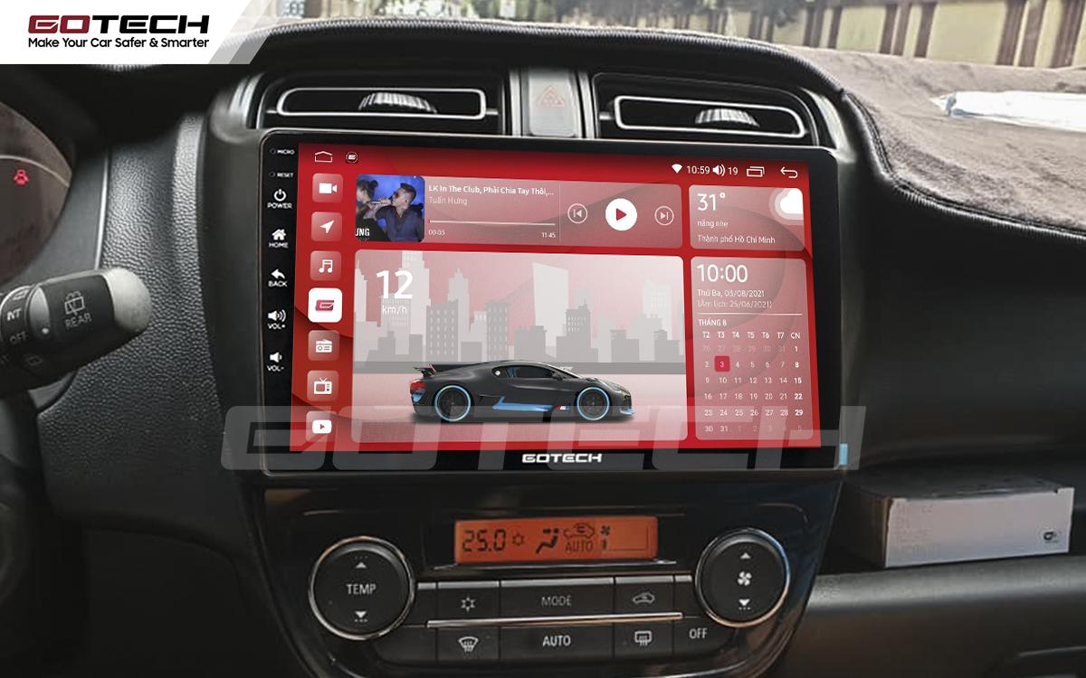 Màn hình Android Gotech cho xe Mitsubishi Mirage 2013-2019 có kích thước 9 inch nổi bật.