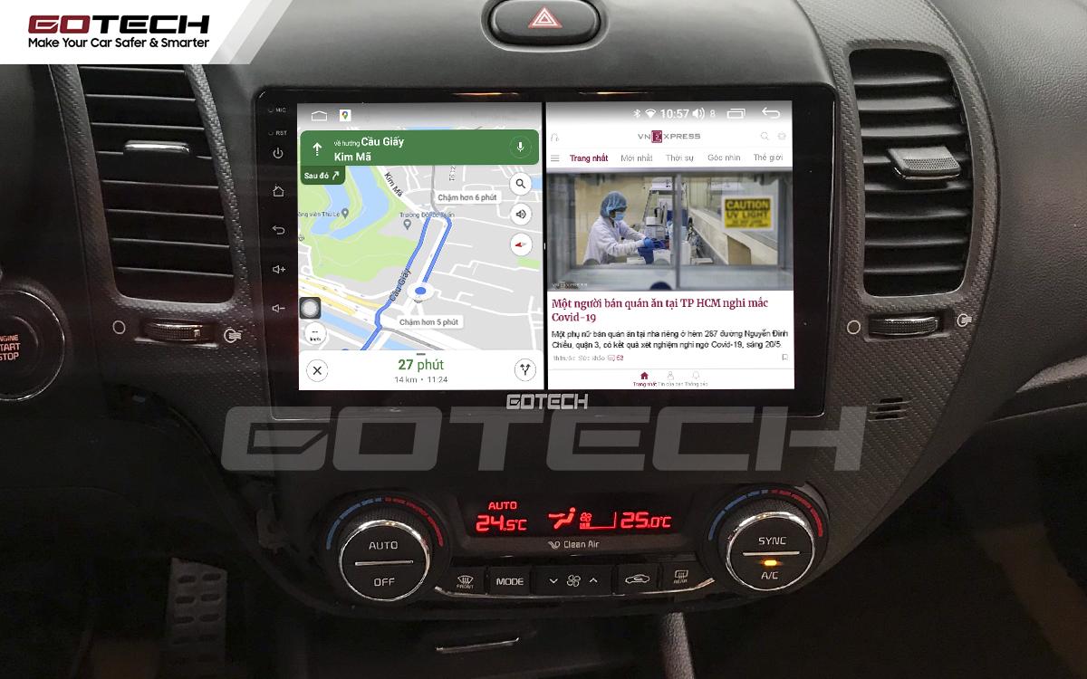 Chạy đa nhiệm ứng dụng trên màn hình ô tô thông minh GOTECH cho xe Kia K3 Cerato