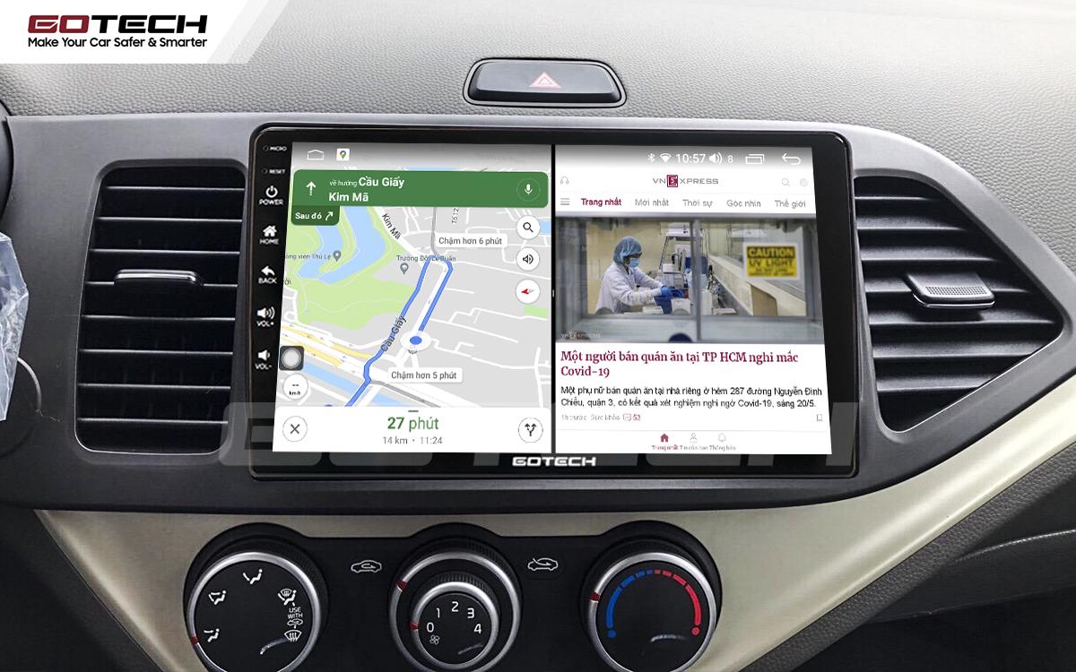 Màn hình GOTECH cho xe Kia Morning hỗ trợ chạy đa nhiệm ứng dụng mượt mà
